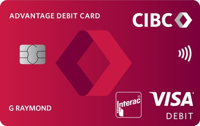 A CIBC Advantage Debt Card featuring the bank's new logo and brand look. (CNW Group/CIBC)