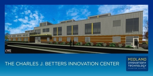 Rendering of The Charles J. Betters Innovation Facility at Midland Innovation + Technology Charter School set to open in September 2022 in Midland, PA.