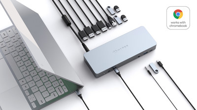 For The Tenacious Digital Nomad Or Diligent Student Look no further than the HyperDrive 5-port USB-C Hub for Chromebook  With five versatile port selections, it's the ultimate in on-the-go connectivity whether you need to connect through HDMI, USB-C, USB-A or Gigabit Ethernet.  Enjoy the highest-resolution HDMI video quality at 2X the refresh rate with 4K 60Hz.  Transfer data and files at blazing-fast speeds with 2X USB-A ports featuring speeds up to 5Gbps.   Get more peace of mind knowing it's
