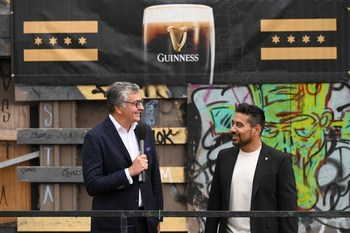 Diageo Beer Company President Nuno Teles (left) and Diageo Beer Company CMO Jay Sethi (right) announce Guinness' plans to open a Chicago taproom in 2023.