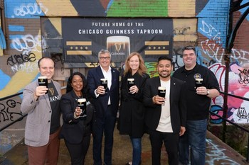 Diageo leaders gather to celebrate the announcement of Guinness' Chicago taproom, slated to open in 2023. From L to R: Hakan Kulturlu, Director, Transformation, Diageo Beer Company; Danielle Robinson, Director, Alcohol Policy and Reputation Management at Diageo; Nuno Teles, President, Diageo Beer Company USA; Allison Miller, Head of Facilities and Real Estate for Diageo; Jay Sethi, CMO, Diageo Beer Company USA; Michael Donilon, General Manager, Open Gate Brewery