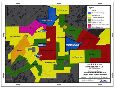 Figure 1. Defense Metals Athabasca Basin Uranium Projects (CNW Group/Defense Metals Corp.)