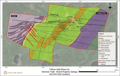 Figure 1:  Geology plan showing the location of NT21-194 and other drill holes identified in the news release. (CNW Group/Trillium Gold Mines Inc.)