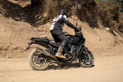 Vance & Hines President Mike Kennedy tests the new Adventure Hi-Output 450 exhaust on a Harley-Davidson Pan America motorcycle. The launch of the new exhaust signals Vance & Hines entry into the off-road market.