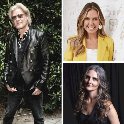Herizon Music Foundation kicks off its fundraising event today with a virtual concert/jewelry show featuring Kendra Scott (top right) jewelry and musician Jenny Van West (bottom right) along with a Daryl Hall (left) & John Oates VIP ticket package for auction on Charitybuzz.com.
