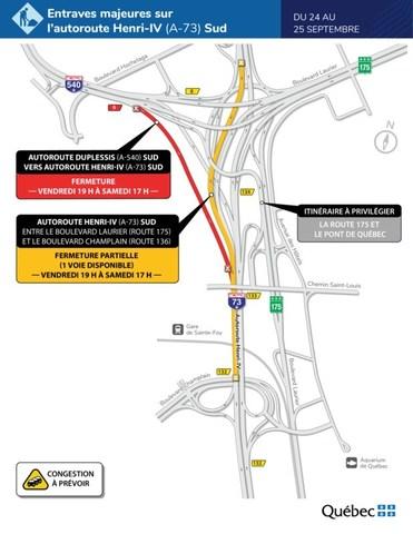 Entraves majeures sur l'autoroute Henri-IV (A-73) Sud - Du 24 au 25 septembre (Groupe CNW/Ministère des Transports)