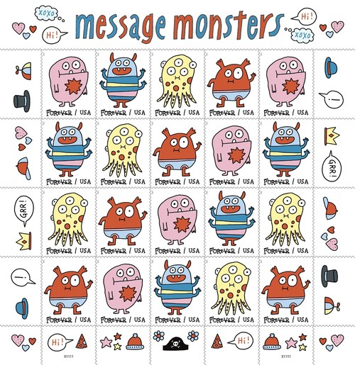 Message Monsters Forever stamps