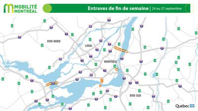 Carte générale des entraves, fin de semaine du 24 septembre (Groupe CNW/Ministère des Transports)