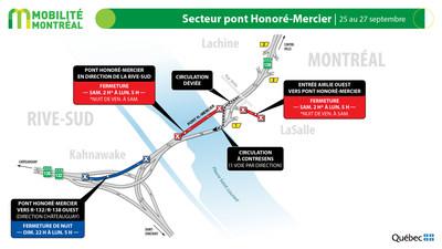 Contresens pont Honoré-Mercier (R138), fin de semaine du 24 septembre (Groupe CNW/Ministère des Transports)