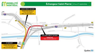 Échangeur Saint-Pierre (A20 / R138), fin de semaine du 24 septembre (Groupe CNW/Ministère des Transports)