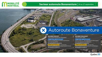 A10 est (Bonaventure), secteur centre-ville, fin de semaine du 24 septembre (Groupe CNW/Ministère des Transports)