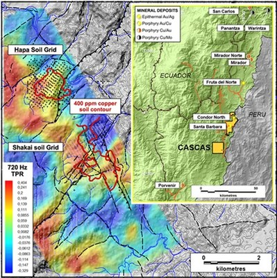 Figure 1. Location map of Hapa showing Cascas soil sample grids, major faults and ZTEM geophysics (CNW Group/Luminex Resources Corp.)