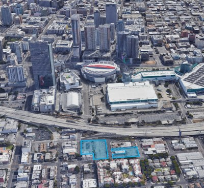 Aerial View of 68,000 Square-foot Parking Lot Located Near the Staples Center in Downtown Los Angeles