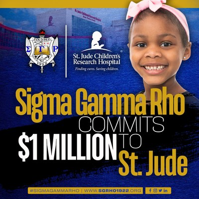 MEMPHIS, Tenn. (Sept. 24, 2021) – Sigma Gamma Rho Sorority, Inc., an international collegiate and nonprofit community service organization, plans to raise $1 million for St. Jude Children's Research Hospital®. This commitment comes just as the organization approaches its 100th anniversary in 2022 with the focus on celebrating this centennial milestone by reflecting on a long history of philanthropy, love for community and making a positive impact on the kids and families at St. Jude.