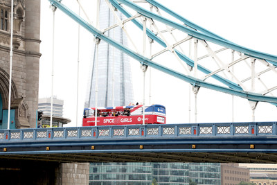 A general view of Spotify's Spice Girls Tour Bus on Tower Bridge to celebrate 25 years of the Spice Girls on September 19, 2021, in London, England. (Photo by Lia Toby/Getty Images for Spotify)