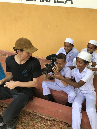 Paris Brosnan traveled to Sri Lanka with Lauren Bush Lauren and Christian Courtin-Clarins in 2019, to witness and document Clarins & FEED work.