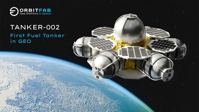 Design concept for Orbit Fab's Tanker-002, mounted on a Spaceflight Sherpa-ES in transit to geostationary orbit.