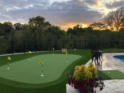 Artificial grass putting green installation in Nashville, TN by Tee Time Turf