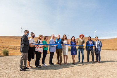 (Left to right) Siva Gunda, Brittni Kiick, Corina López, Rebecca Bauer-Kahan, Scott Haggerty, Nick Chaset, Melissa Hernandez, Lily Mei, Mary Sutter, Mehul Mehta and Howard Chang at the ribbon-cutting for East Bay Community Energy's Scott Haggerty Wind Energy Center