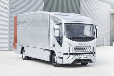 The Tevva Truck: New British designed and manufactured zero tailpipe emission fully electric truck launch at Freight in the City Expo at Alexandra Palace 28 September.