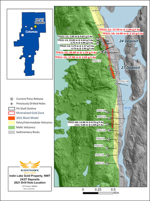 Nighthawk Drilling - 24/27 Plan View - 28Sept21-TSX:NHK; OTCQX:MIMZF (CNW Group/Nighthawk Gold Corp.)