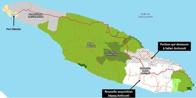 La Sépaq obtiendra à partir du 5 décembre 2021 des droits exclusifs de chasse, de pêche et de piégeage sur 1488 km2 supplémentaires de l'île d'Anticosti. Le territoire de Sépaq Anticosti couvrira alors 5600 km2. (Groupe CNW/Société des établissements de plein air du Québec)