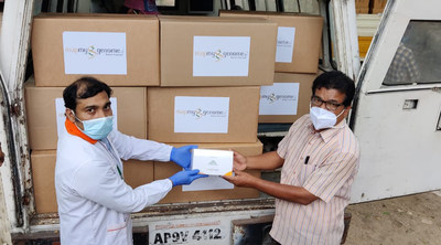 Zymo Research pays it forward by donating one million DNA/RNA Shield - DirectDetect™ test kits to Mapmygenome™ based in Hyderabad, India. (PRNewsfoto/Zymo Research Corp.)