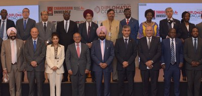 Diplomats of 24 countries along with the Chancellor Chandigarh University Satnam Singh Sandhu and ICCR Director-General Dinesh K Patnaik during the Diplomatic Conclave organized by Chandigarh University