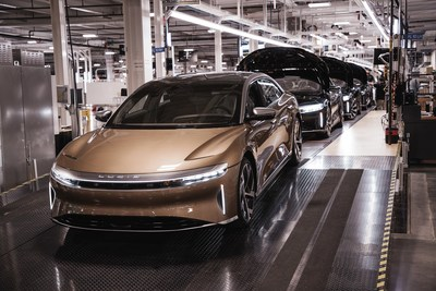 The first customer-quality Lucid Air luxury electric sedans rolled off the assembly line today at Lucid's Advanced Manufacturing Plant (AMP-1) in Casa Grande, AZ, which included a factory commissioning ceremony with Arizona Governor Doug Ducey.