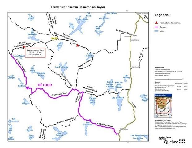 Chemins forestiers en Outaouais - MISE À JOUR : Fermeture temporaire et limitations de déplacement (Groupe CNW/Ministère des Forêts, de la Faune et des Parcs)