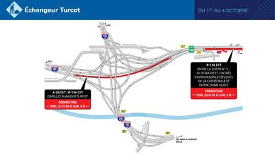 Fermetures dans l'échangeur Turcot (Groupe CNW/Ministère des Transports)