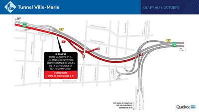 Fermetures dans le tunnel Ville-Marie (Groupe CNW/Ministère des Transports)
