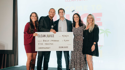 """Kat and Landon Eckles with Michelle Piniella and Tara O'Grady (multi-unit Franchise Partners in Tampa, FL with employee and $5K Scholarship winner, Rocco Lavarone - """"The Clean Juice brand has so much to be thankful for as we continue to grow and innovate at record pace year after year,"""" said Landon Eckles, CEO, Clean Juice. """"We would definitely not be where we are today without the dedication of our Franchise Partners and Juiceristas like Daniel, Rocco and Clara."""""""