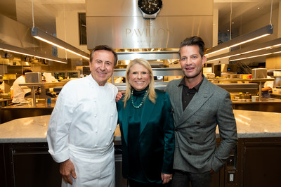 Acclaimed interior designer Nate Berkus, Celebrity Cruises President and CEO Lisa Lutoff-Perlo and Michelin-starred chef Daniel Boulud announced their new collaborations that will be featured on board Celebrity's newest ship, Celebrity Beyond, during a dinner in New York, Monday, Sept. 27, 2021. Nate Berkus has designed a new multi-level, outdoor internationally-inspired bar, Sunset Bar and Chef Daniel Boulud has created his first signature restaurant at sea, Le Voyage by Daniel Boulud. (Photo by Diane Bondareff/Invision for Celebrity Cruises/AP Images)(Photo by Diane Bondareff/Invision for Celebrity Cruises/AP Images)