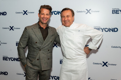 Nate Berkus, acclaimed interior designer and Celebrity Cruises Design Ambassador and Chef Daniel Boulud, Michelin-starred chef and Celebrity Cruises Global Culinary Ambassador, attend a launch event to reveal their new collaborations on Celebrity Cruises' newest ship, Celebrity Beyond, Monday, Sept. 27, 2021, in New York.  Nate Berkus has designed a new multi-level, outdoor internationally-inspired bar, Sunset Bar, and Chef Daniel Boulud has created his first signature restaurant at sea, Le Voyage by Daniel Boulud. (Photo by Diane Bondareff/Invision for Celebrity Cruises/AP Images)