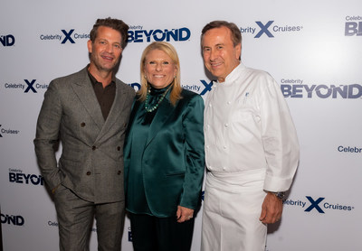 Acclaimed interior designer Nate Berkus, Celebrity Cruises President and CEO Lisa Lutoff-Perlo and Michelin-starred chef Daniel Boulud announce their new collaborations that will be featured on board Celebrity's newest ship, Celebrity Beyond, during a dinner in New York, Monday, Sept. 27, 2021. Nate Berkus has designed a new multi-level, outdoor internationally-inspired bar, Sunset Bar and Chef Daniel Boulud has created his first signature restaurant at sea, Le Voyage by Daniel Boulud. (Photo by Diane Bondareff/Invision for Celebrity Cruises/AP Images)(Photo by Diane Bondareff/Invision for Celebrity Cruises/AP Images)