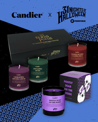 """Ryan Porter's Candier brand joins Freeform to celebrate """"31 Nights of Halloween"""" with a trio of candles inspired by the Sanderson sisters from Disney's """"Hocus Pocus,"""" available on shopryanporter.com Sept. 30-Oct. 31 for $79.00 (sold as a set).  In addition, a single limited edition """"Mostly Dead on the Inside"""" candle will also be available during the same time, retailing for $29.00. Families will enjoy delicious scents lingering through their homes nationwide as viewers tune in to watch their fav"""