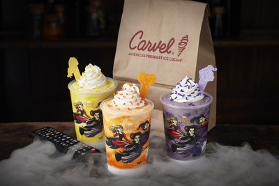 """Carvel® Ice Cream and Freeform are celebrating three spooky years of partnership with three new, wickedly delicious holiday treats in honor of the network's highly anticipated """"31 Nights of Halloween"""" movie lineup and airings of the cult classic film Disney's """"Hocus Pocus."""" Available now through Oct. 31, guests can enjoy three bewitching shake flavors served with a limited-edition """"31 Nights of Halloween"""" x """"Hocus Pocus"""" cup and spoon that pairs with each Sanderson Sister."""