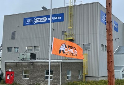Every Child Matters flag hangs at half-mast outside the First Cobalt Refinery (CNW Group/First Cobalt Corp.)