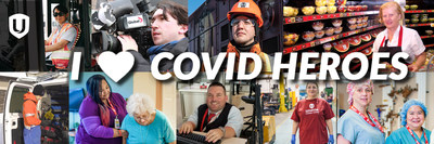 Montage of Unifor members text reads I love COVID heroes (CNW Group/Unifor)