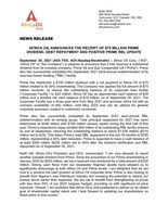 Africa Oil Announces the Receipt of $75 Million Prime Dividend, Debt Repayment and Positive Prime RBL Update (CNW Group/Africa Oil Corp.)