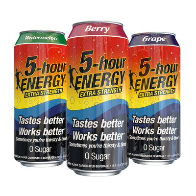 5-hour ENERGY 16-oz carbonated beverage available in Watermelon, Berry and Grape flavors.