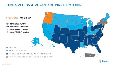 Cigna has increased its geographic presence in MA by 80 percent since 2019. The company now offers plans in 477 counties across 26 states and the District of Columbia.