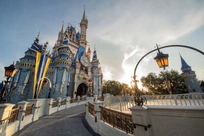 Cinderella Castle at Magic Kingdom Park features new EARidescent decor in honor of the 50th anniversary celebration of Walt Disney World Resort in Lake Buena Vista, Fla. The 18-month celebration begins Oct. 1, 2021. (Kent Phillips, photographer)