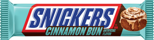 SNICKERS Cinnamon Bun features cinnamon bun flavored nougat, mixed with crunchy peanuts, and topped with buttery caramel, all cloaked in rich milk chocolate.