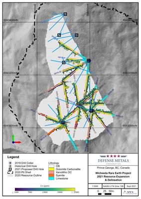 Figure 1. 2021 Wicheeda REE Deposit 2021 Drill Plan (CNW Group/Defense Metals Corp.)