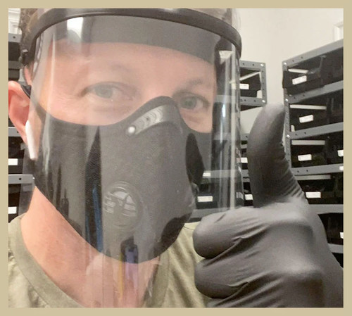 Justin Griffith, CTO, StayLinked displays 3D printed face shield