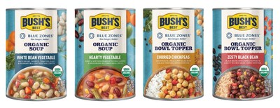 Bush's Beans announced a new line of organic plant-based bowl toppers and soups developed in partnership with Blue Zones LLC