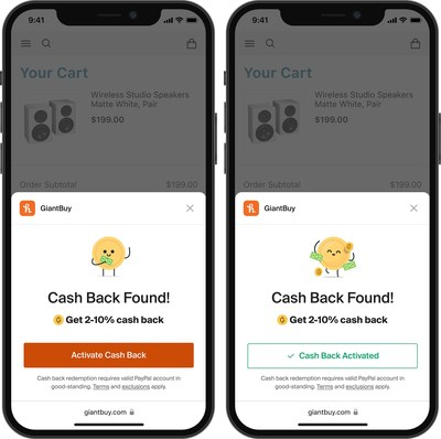 Cash back found while shopping with Honey on iOS Safari for mobile
