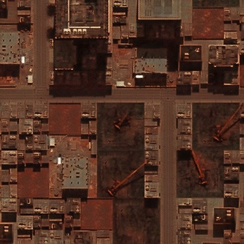 Rendered.ai generated this aerial image from a dataset used to detect cranes. The Rendered.ai platform was used to engineer this dataset for effective detection using physics-based simulation and GAN-based post processing.
